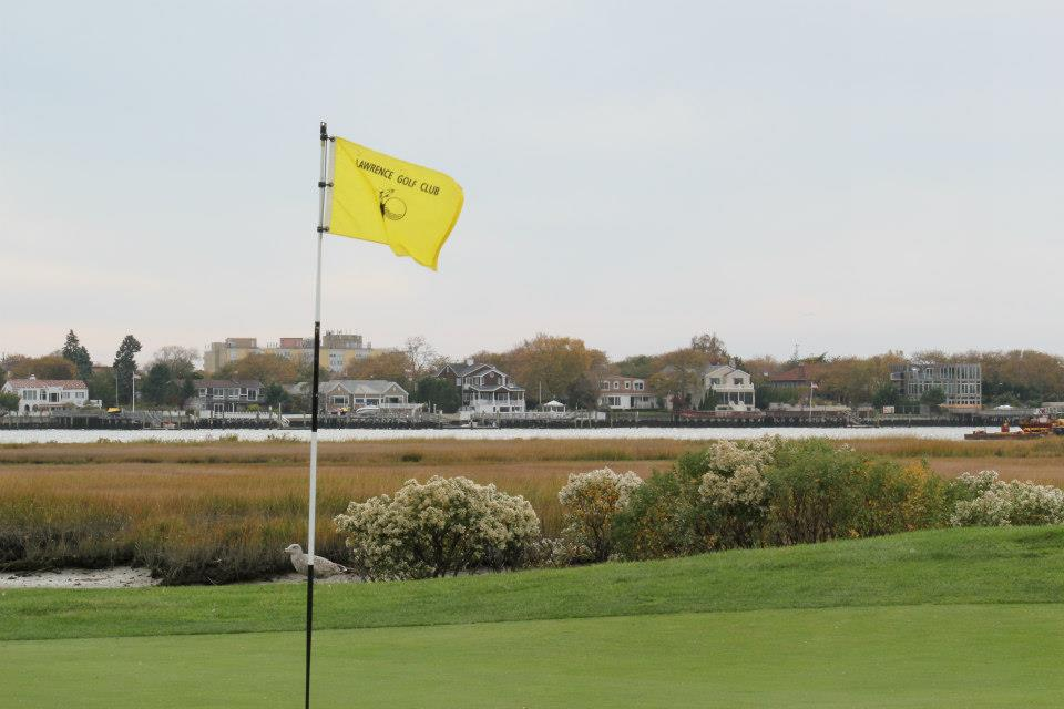 View of a flag on the course at Lawrence Yacht and Country Club